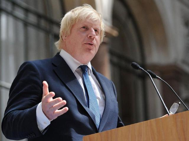 Newly appointed Foreign Secretary Boris Johnson addresses staff inside the Foreign and Commonwealth Office (FCO) in central London on July 14.