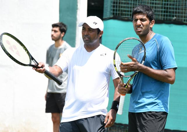 Chandigarh, India July 13 : Rohan Bopanna during a practice session ahead of India-South Korea Davis Cup tie to be played from July 15 to 17 at Chandigarh Club on Wednesday, July 13, 2016. Photo by Sanjeev Sharma/ Hindustan Times