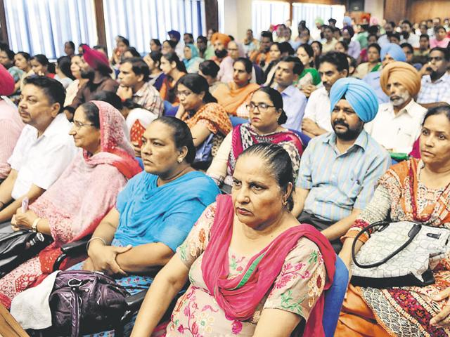 Teachers from across the state in a meeting with education minister Daljit Singh Cheema.