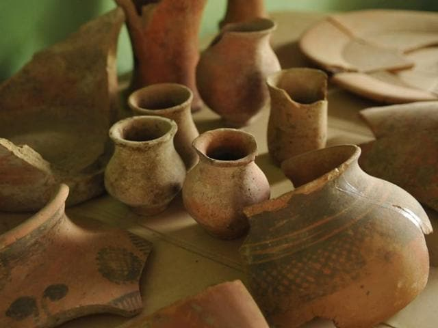 File photo of painted Harappan pottery found during  excavation at a  site in  Rakhigarhi, 90 minutes east of Hisar in Haryana.  A debate is on in US state of California whether 'South Asia' should replace 'India' as more representative of the geographical spread of early civilisations on the subcontinent.