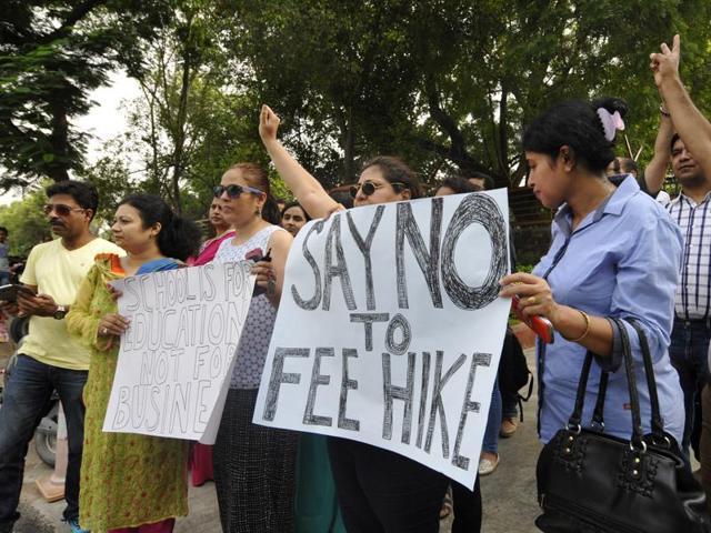 Parents have been protesting against fee hike by private schools in Gautam Budh Nagar since the start of the current academic session.