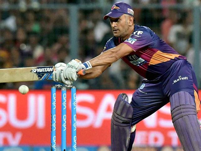 Rising Pune Supergiants Captain M S Dhoni plays a shot during IPL against Kolkata Knight Riders.