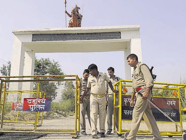 File photo of police presence at the entry to Bisada village, in Dadri, Greater Noida.  Bisada resident Mohammad Ikhlaq was lynched by a mob for alleged cow slaughter and storing its meat in the house in September, 2015.