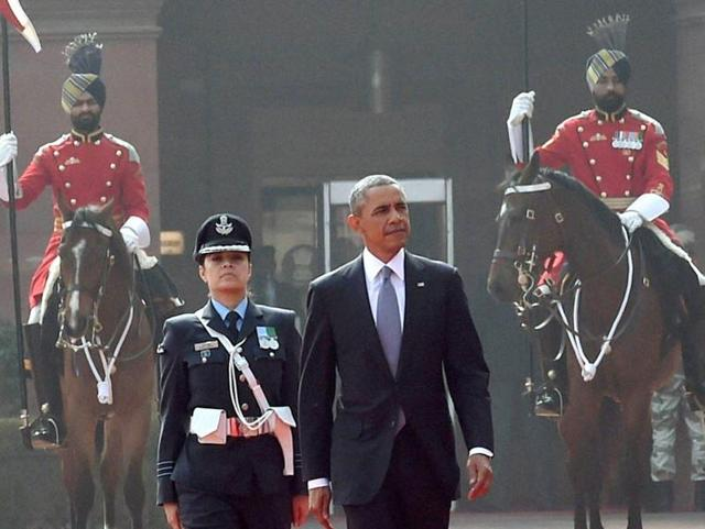 Wing Commander Pooja Thakur leading the Guard of Honour for US President Barack Obama during the Republic Day celebrations.