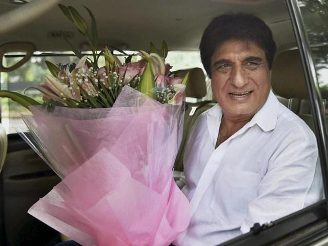 Newly appointed UP Congress committee chief Raj Babbar arrives at 10 Janpath in New Delhi to meet party president Sonia Gandhi on Wednesday.