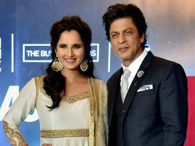 Tennis player Sania Mirza and actor Shah Rukh Khan at the launch of Sania Mirza's autobiography, 'Ace against Odds,'  in Hyderabad on Wednesday.
