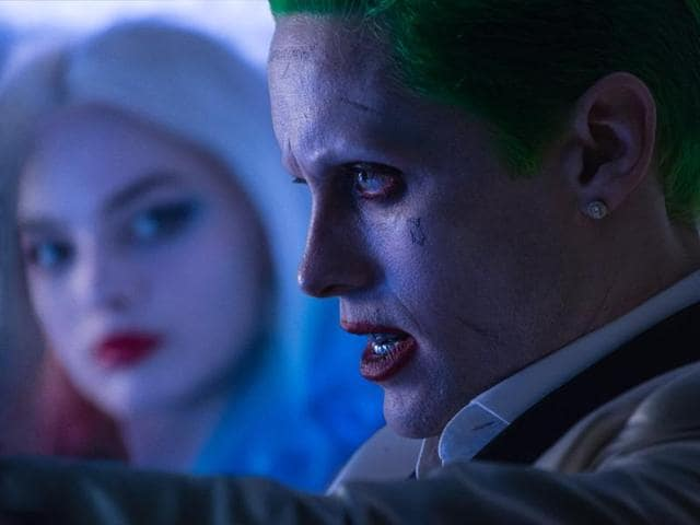 Jared Leto as the Joker and Margot Robbie as Harley Quinn in Suicide Squad.