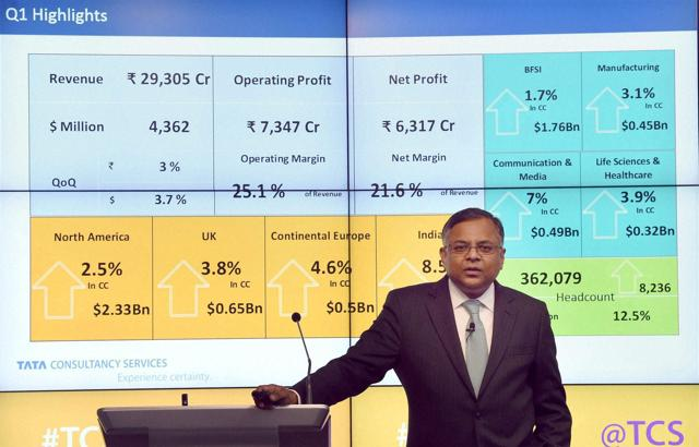 CEO & MD, TCS, N Chandrasekaran during the announcement of the company's Q1 results in Mumbai on Thursday, July 14, 2016.