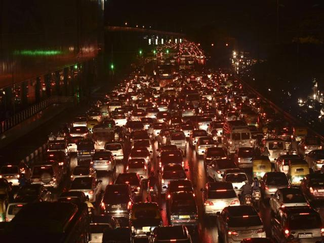 A traffic jam at Dhaula Kuan in New Delhi after rains lashed across the national capital on Thursday.