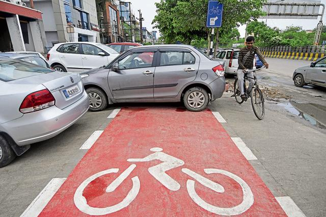 Cycle tracks have also been painted red to demarcate them.