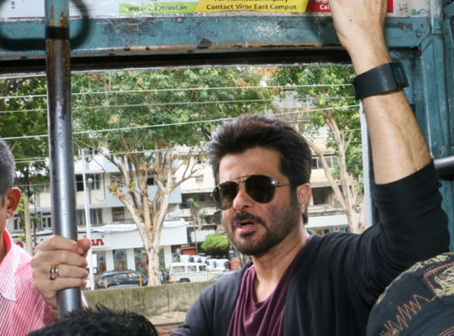 Actor Anil Kapoor took a local train from Churchgate on Thursday.