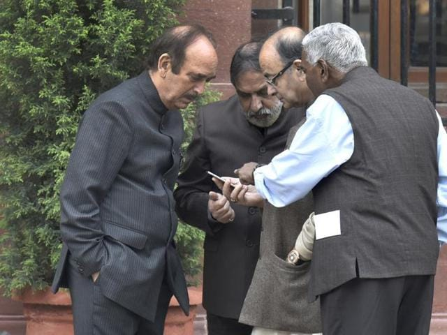 Union finance minister Arun Jaitley with Congress leaders Anand Sharma, Ghulam Nabi Azad and Left leader D Raja at the Prime Minister's office in Delhi.