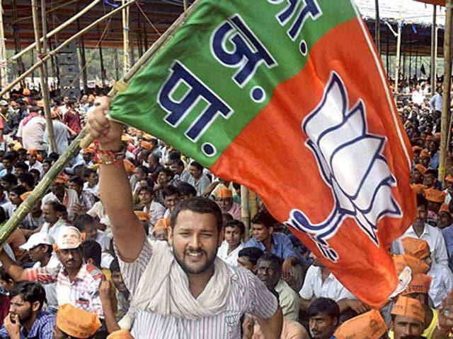 A BJP supporter waves a party flag at NDA's Parivartan rally.