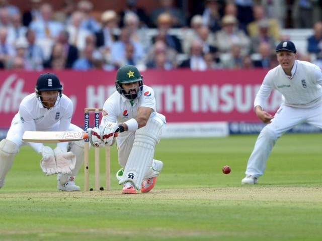 Pakistan's Misbah-ul-Haq bats on day one of the Test match against England at Lord's, London.