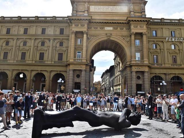 A life-size replica of  Michelangelo Buonarroti's David is displayed  during a ceremony for the victims of the Nice attack, at Repubblica square in Florence, Italy.