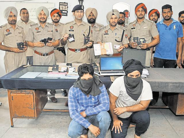 The accused in police custody in Jalandhar on Thursday.