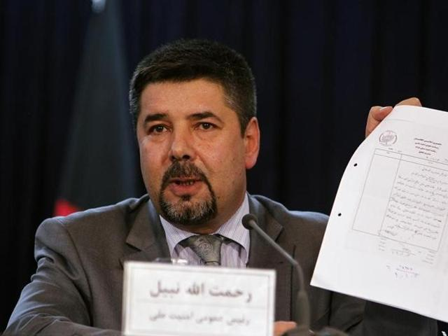 Rahmatullah Nabil, former head of Afghanistan's National Directorate Of Security (NDS), shows a paper during a joint news conference in Kabul.