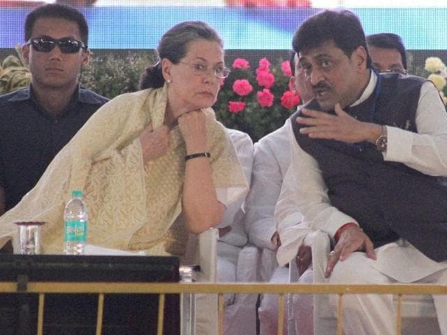 Congress president Sonia Gandhi with Maharashtra party chief Ashok Chavan on Thursday.