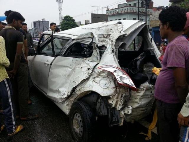 The Maruti Swift car in which the couple was travelling at Jalandhar-Amritsar highway on Saturday.
