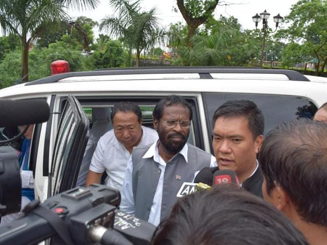 Pema Khandu talks to reporters outside Raj Bhavan on Saturday morning.