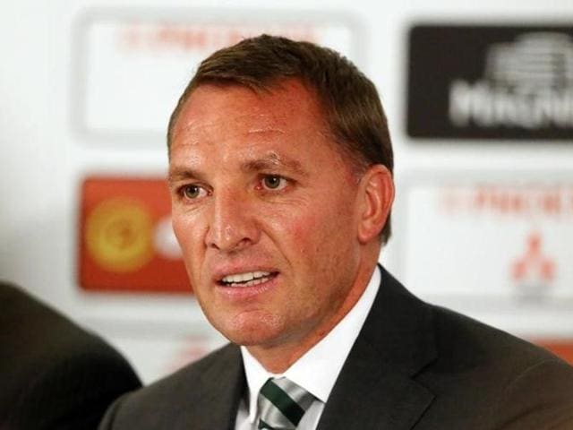 A big screen displaying New Celtic manager Brendan Rodgers as he is presented after the press conference.