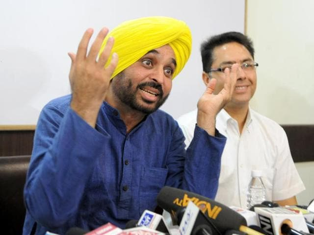 IN FULL FLOW: AAP leader Bhagwant Mann addressing a press conference in Chandigarh on Friday.