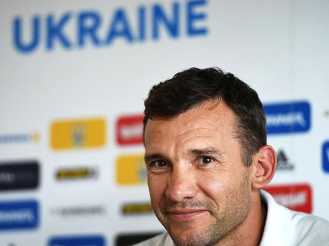 Ukrainian forward Andriy Shevchenko looking on during the Euro 2012 championships football match Ukraine vs France.