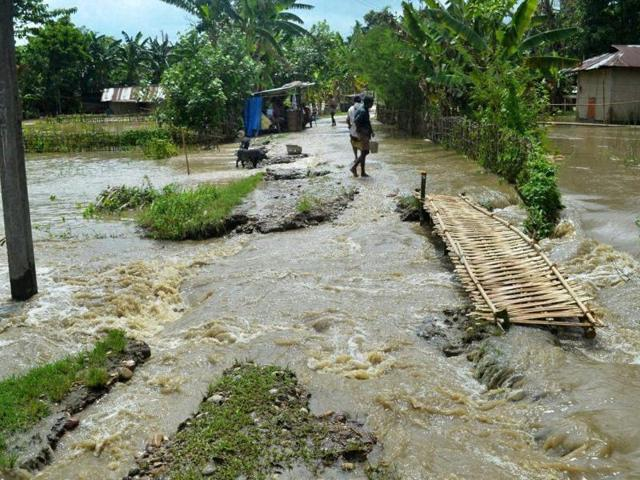 A flood hit village in Lakhimpur district of Assam on Wednesday.(PTI)
