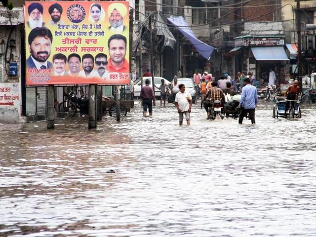 The scene at MC zone A Mata Rani Chowk, Ludhiana.