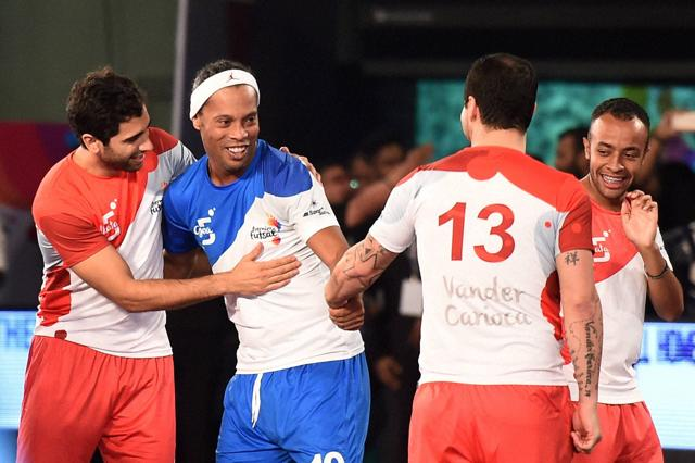 The Premier Futsal saw global stars like Brazil great Ronaldinho (blue with ball) make their way to Indian shores.