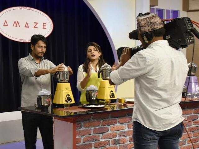 Behind-the-scenes: (Left to right) Anchors grind bits of marble in a mixer to demonstrate how sturdy its motor is, at the Shop CJ studio in Mumbai's Grant Road; anchors and their creative director discuss the selling points of a set of non-stick pans, at the Best Deal TV (BDTV) studio; last-minute touch-ups inside Shop CJ's make-up room; producers monitor a live telecast in the Shop CJ studio control room.