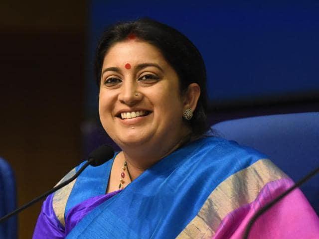 Textiles minister Smriti Irani addresses a press conference in New Delhi.