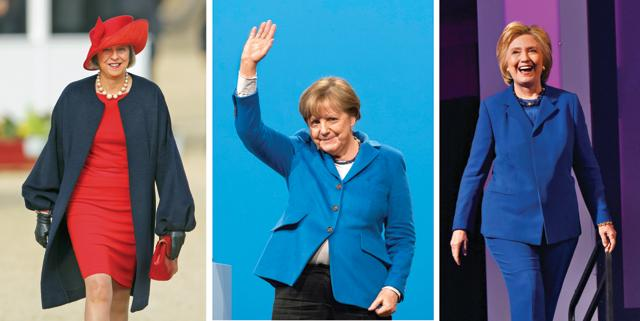 None of these women,  Theresa May (left), Angela Merkel or Hillary Clinton (right), is in pole position because of her gender. All of them have proven track records in politics
