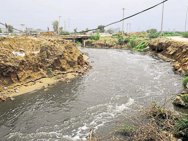Treated sewage water flows out of the Dhanwapur treatment plant. This water flows into the Najafgarh drain and eventually reaches the Yamuna.