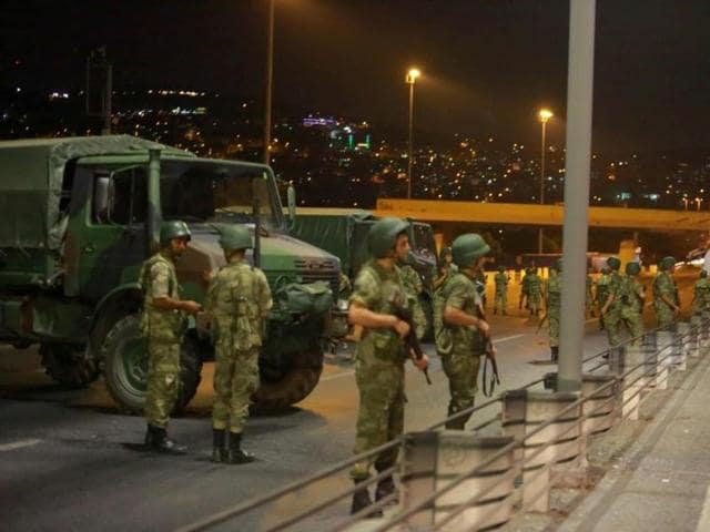 Turkish military block access to the Bosphorus bridge, which links the city's European and Asian sides, in Istanbul, Turkey.