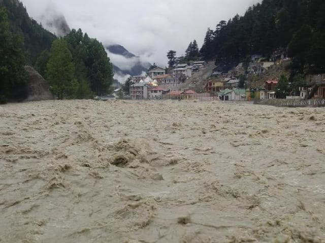 View of the overflowing river in the Gangotri shrine, in Uttarakhand.