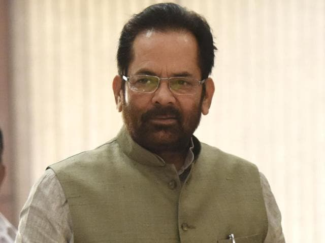 Minister of state for parliamentary affairs Mukhtar Abbas Naqvi (L) is confident of passage of the prolonged GST bill during the Monsoon session of Parliament which starts on Monday.