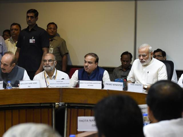 Prime Minister Narendra Modi at the all-party meeting ahead of Parliament's monsoon session at Parliament House in New Delhi.
