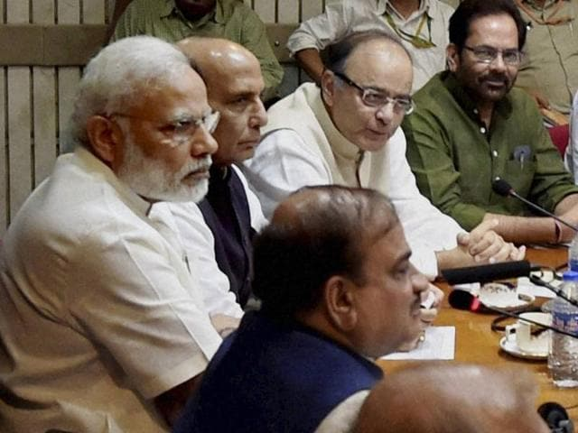 (From left) Congress leader Ghulam Nabi Azad, parliamentary affairs minister Ananth Kumar, Prime Minister Narendra Modi, home minister Rajnath Singh and finance minister Arun Jaitley at an all-party meeting ahead of the monsoon session of Parliament.