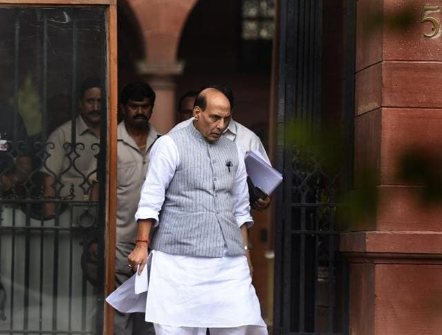 Home minister Rajnath Singh leaves after attending a meeting at the PMO in South Block on Wednesday.