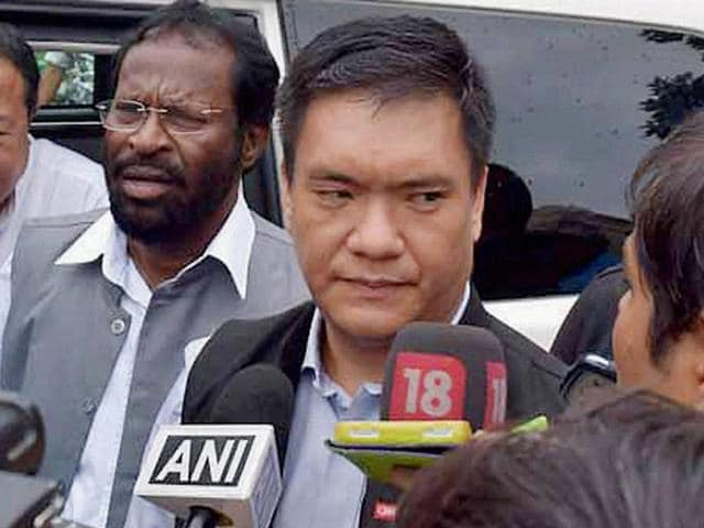 Designated Arunachal Pradesh CM Pema Khandu talks to reporters at Raj Bhawan after staking claim to form the Congress government in the state, in Itanagar.