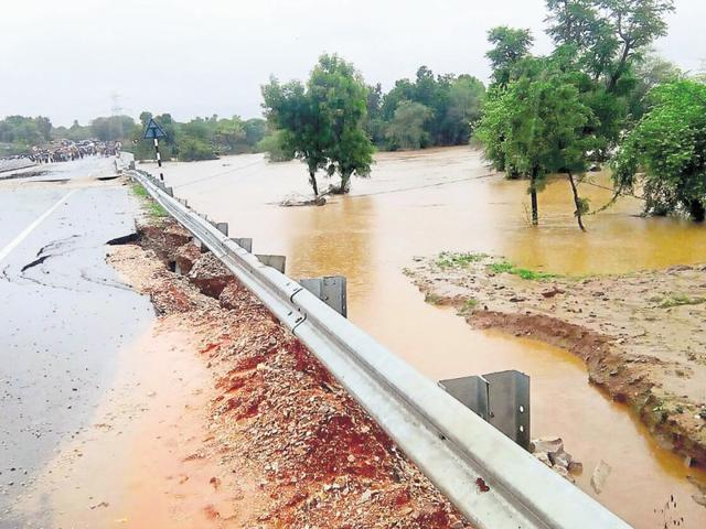 Incessant rainfall for the last two days disrupted communication on link roads to several villages in Karauli district.