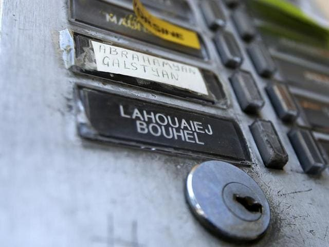 The plate of the interphone shows the name of Mohamed Lahouaiej Bouhlel outside the building where he lived in Nice, southern France.