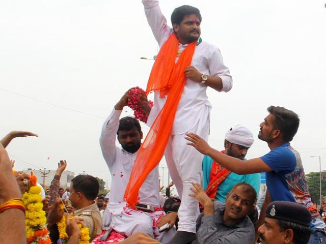 Patidar protests leader Hardik Patel on his release from Lajpore jail in Surat in Gujarat on July 15. After spending nine months in jail, Patel was granted bail by the Gujarat high court on the condition that he stays away from Gujarat for a minimum of six months.