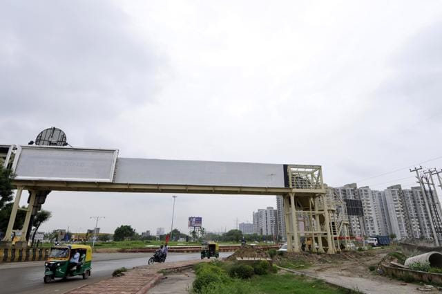 Built at a cost of Rs 1.5 crore, the foot overbridge presently connects two vacant fields at an isolated place, rendering it useless for pedestrians.