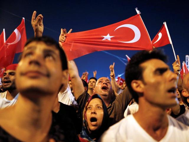 Supporters of Turkish President Tayyip Erdogan gather at Taksim Square in central Istanbul.