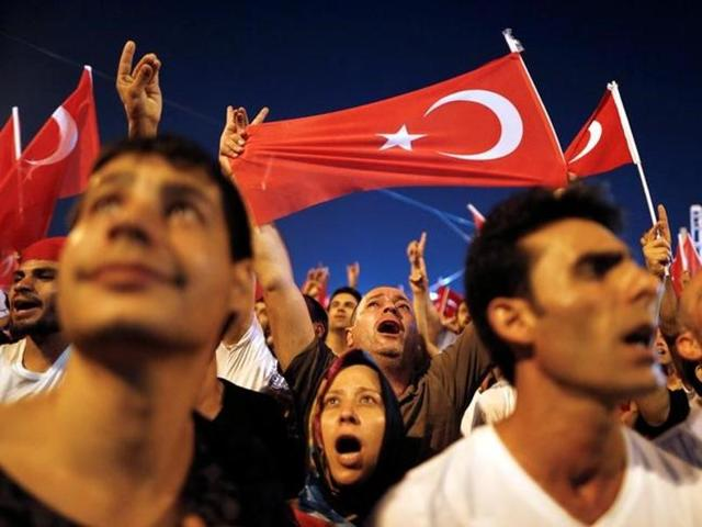 Supporters of Turkish president Tayyip Erdogan gather at Taksim Square in central Istanbul, Turkey.