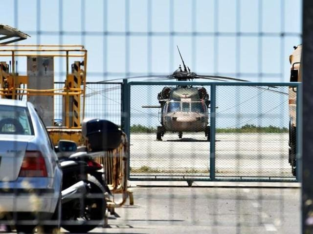 A Turkish military helicopter lands in the northern Greek city of Alexandroupolis with eight men on board who have requested political asylum after the attempted coup in Turkey.
