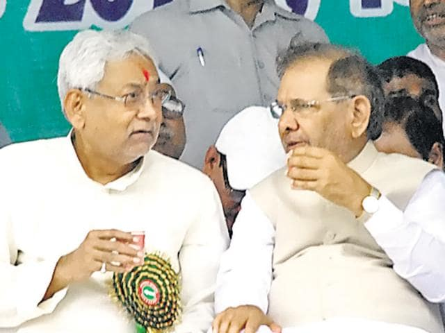 Bihar chief minister Nitish Kumar with JD(U) leader Sharad Yadav at a rally in Allahabad on Sunday.