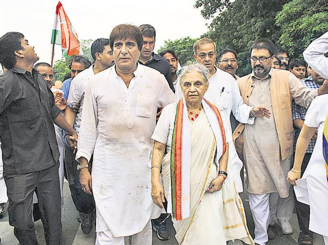 Congress' CM candidate Sheila Dikshit along with Raj Babbar in Lucknow on Sunday.